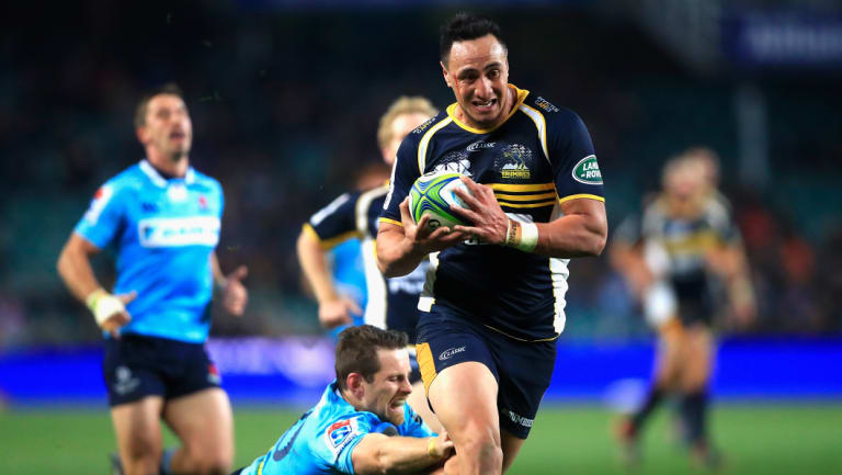 Out of sight: Wharenui Hawera races away to score for the Brumbies.