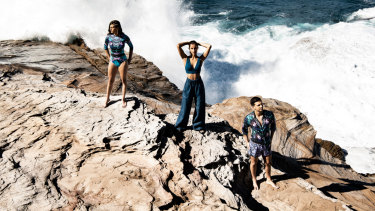 Models wearing Aqua Blu (left and right) and Bondi Born (centre), two brands that are putting the focus on swimwear at Mercedes-Benz Fashion Week Australia.