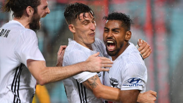 At the double: Roy Krishna struck twice late on for the Phoenix.