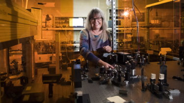 Nobel prize winner Donna Strickland at her lab in Waterloo, Ontario, Canada.