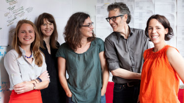 The Serial staff, from left: Dana Chivvis, Emily Condon, Sarah Koenig, Ira Glass and Julie Snyder.