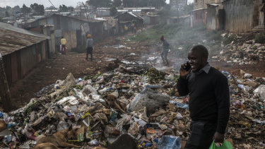 One of the may rubbish dumps in Kibera.