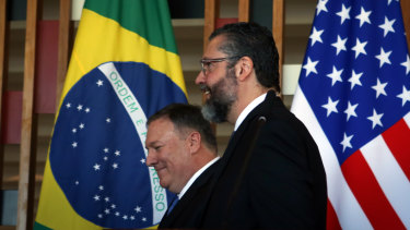 US Secretary of State Mike Pompeo and Brazilian Foreign Minister Ernesto Araujo at the Itamaraty Palace in Brasilia on Wednesday.