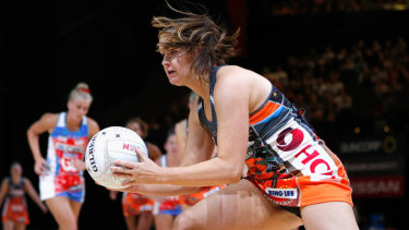 Consistent: Susan Pettitt of the Giants gathers the ball during another prolific night.
