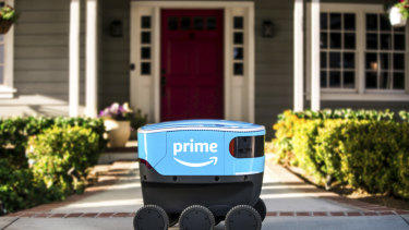 The robots are coming: a self-driving delivery robot that Amazon calls Scout.