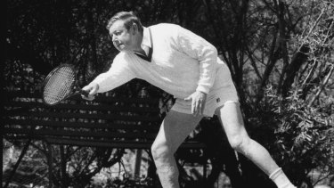 Holding court: Ted Harris fires a forehand at Prime Minister Bob Hawke in 1983.