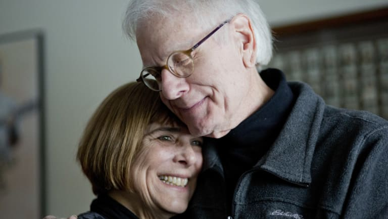 Wendy Bocci with her husband, Tom, who received a faecal transplant after recurring bouts with Clostridium difficile nearly killed him, at their home in Troy, Michigan, last year.