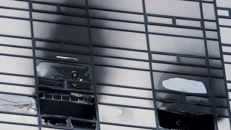 A firefighter inside Trump Tower.