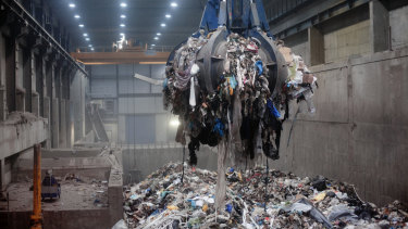 Trash piled nine metres high awaits incineration inside the waste-to-energy agency plant in the Norwegian capital Oslo,  where roughly half the city and most of its schools are heated by burning garbage.