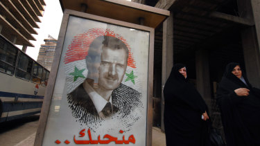 A poster of President Bashar Assad in Damascus, Syria
