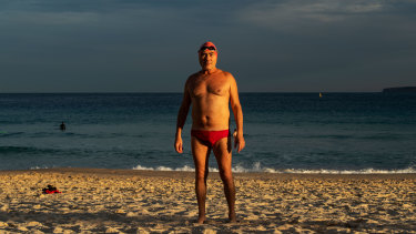 Alun Watkins, pictured at Bondi Beach, said there was a sense of camaraderie between winter swimmers.