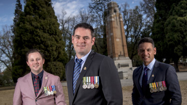 Anti-pokie reform candidates for the RSL, left to right: Lucas Moon, Dan Cairnes and Dave Petersen in front of the Cenotaph at the St James Park in Hawthorn.