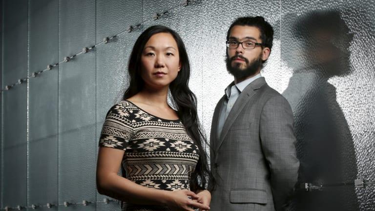 Musicians Linda May Han Oh and Fabian Almazan pose for a photo at the NGV.