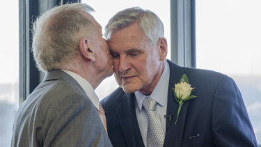 Michael Kirby married his partner Johan van Vloten on the 50th anniversary of when they first met on Monday.