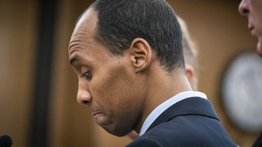 Former Minneapolis police officer Mohamed Noor reads a statement before being sentenced in June.