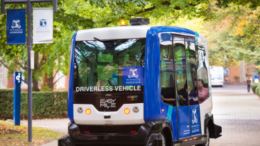 A driverless bus will take visitors for a ride on Prototype Street.