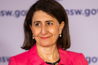 NSW Premier Gladys Berejikilan at the 11am press conference on Sunday.