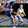 Nic Naitanui gets a kick away during West Coast's round six win over Adelaide.