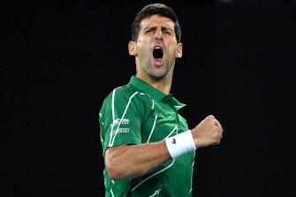 Novak Djokovic beats Milos Roanic to go through to the semi finals.