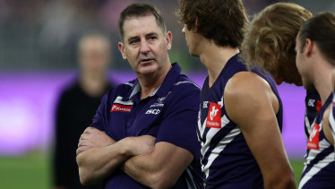 The declines at Fremantle have been occurring under reigning coach Ross Lyon for at least three years now
