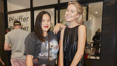 Rachel Yabsley and Violet Atkinson at the Pfeiffer store launch.