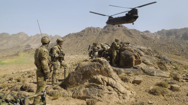 Australian Army soldiers from Special Operations Task Group establish a position in Kandahar province, southern Afghanistan, in 2012.