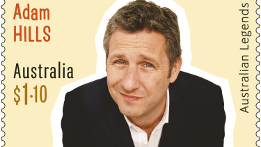 The Adam Hills stamp that was released as a part of Australia Post's most recent Australian Legends series, this one focusing on comedy greats.