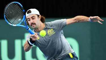 Jordan Thompson gets practice in on Thursday before Australia's Davis Cup tie with Brazil.