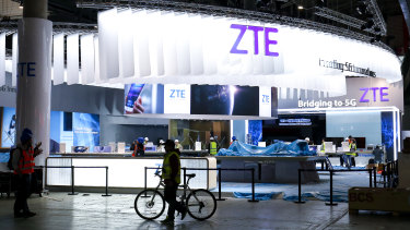 The ZTE Corp stand at the Mobile World Congress in Spain in 2017.