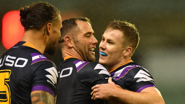 Old bull, young bull:  Cameron Smith with Storm debutant Billy Walters last week.