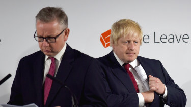 Cabinet minister Michael Gove, who is responsible for overseeing no-deal preparations, and British Prime Minister Boris Johnson.