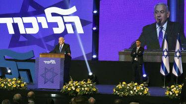 PM Benjamin Netanyahu speaks at the Likud party headquarters in Tel Aviv after the vote.