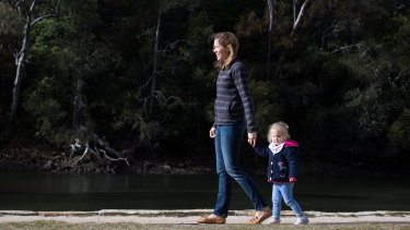 Blanche Sadler with Daughter Alice, 2, enjoying a morning stroll in the Ku-ring-gai Chase National Park, near Sydney.