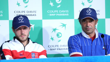 Dejected: Yannick Noah (right), alongside Lucas Pouille, is lamenting what he says is the demise of the Davis Cup.