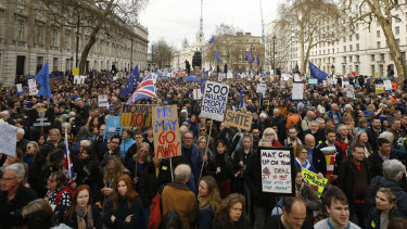 Protestors want another public vote on Brexit.