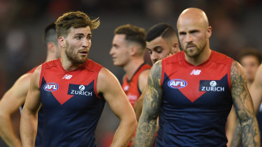 Nathan Jones (right) will no longer lead the Demons with Jack Viney (left).