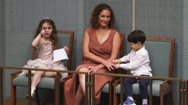 Amie Frydenberg with children Gemma and Blake in Parliament as Treasurer Josh Frydenberg delivered the budget last month.