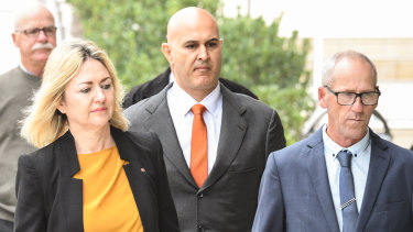 Craig Folbigg (right) arrives with his barrister, Margaret Cunneen, SC, and solicitor Danny Eid (centre).
