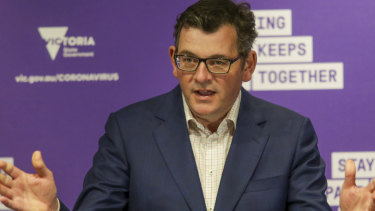 Victorian Premier Daniel Andrews at his daily COVID-19 press conference on Wednesday.