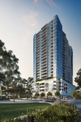 An artist's impression of Bensons Property Group's Liberty One tower in Footscray.