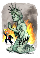 Chaos in America. Illustration: John Shakespeare