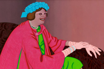One of the truly great Archibald portraits: John Brack's Barry Humphries in the Character of Mrs Everage, 1969.