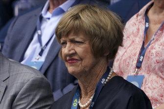Margaret Court watches the clash between  Novak Djokovic and Diego Schwartzman on Sunday.