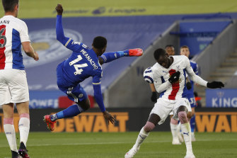 Kelechi Iheanacho tries an acrobatic kick during the game against Crystal Palace.