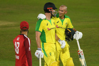 Mitchell Marsh and Ashton Agar celebrate after a job well done.
