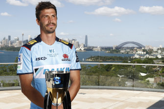 Waratahs captain Jake Gordon with the Super Rugby trophy at the competition's launch earlier this month.