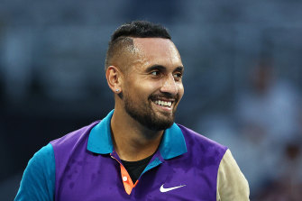 Nick Kyrgios is all smiles after winning a five-set epic against Frenchman Ugo Humbert.