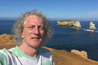 Bela Stantic at the Twelve Apostles on Victoria's Great Ocean Road, before the heatwave forced him to cut the trip short.