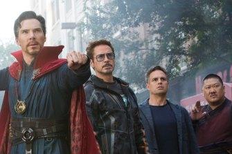 Doctor Strange (Benedict Cumberbatch), Iron Man (Robert Downey Jr), Hulk (Mark Ruffalo) and Wong (Benedict Wong) in Avengers: Infinity War.