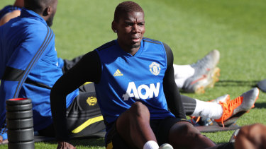 Manchester United's Paul Pogba trains at the WACA in Perth on Wednesday.